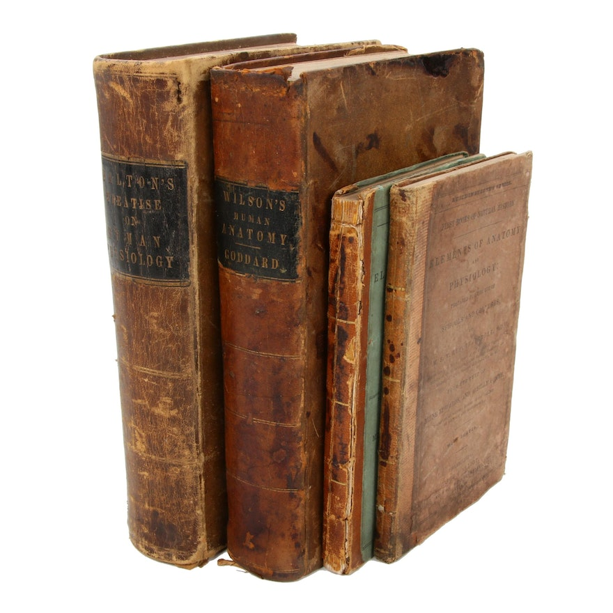 """Anatomy and Physiology Books Including """"Natural History"""" by Ruschenberger, 1844"""