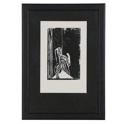"Carl Köhler Abstract Woodcut ""Japanese Buto Dancer"""