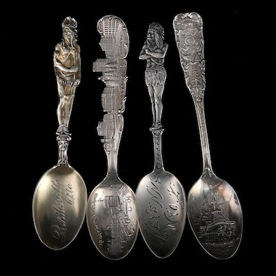 Oklahoma, Wyoming, Cleveland, and Wisconsin Sterling Souvenir Spoons
