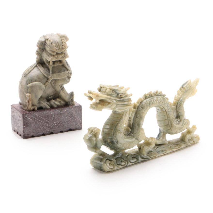Carved Soapstone Shíshī Guardian Lion and Serpentine Dragon Figurines