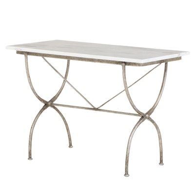 French Style Patinated Metal and Marble Top Bistro Table