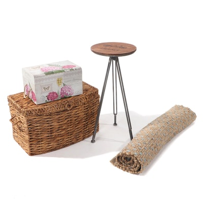 At Home Accent Rug and Barstool with Lidded Storage Boxes