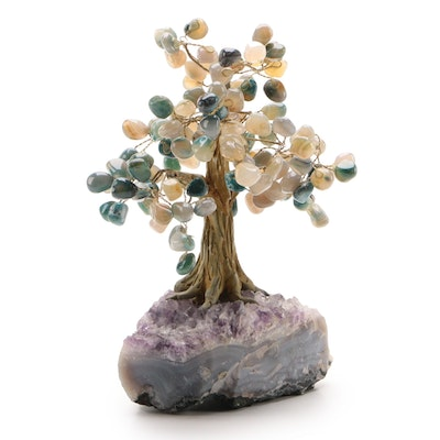 Amethyst and Gemstone Ceramic Tree