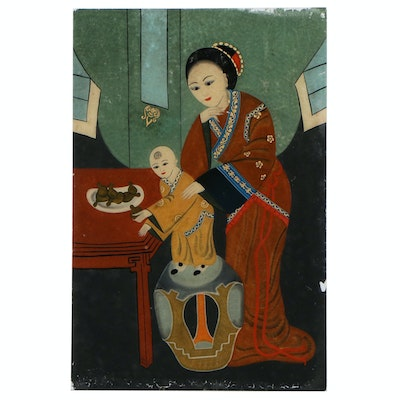 Chinese Reverse Glass Painting of Mother and Child
