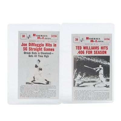Nu-Card Baseball Hi-Lites Cards Including Joe DiMaggio and Ted Williams, 1960
