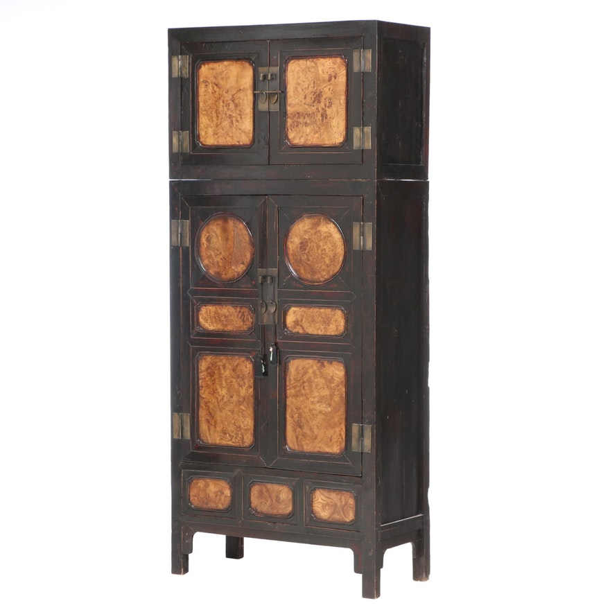 Chinese Burled Elm and Parcel-Lacquered Compound Cabinet