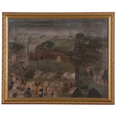 Folk Style Oil Painting of Country Scene
