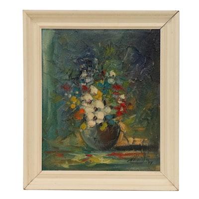 Impressionist Impasto Still Life Oil Painting, 1943