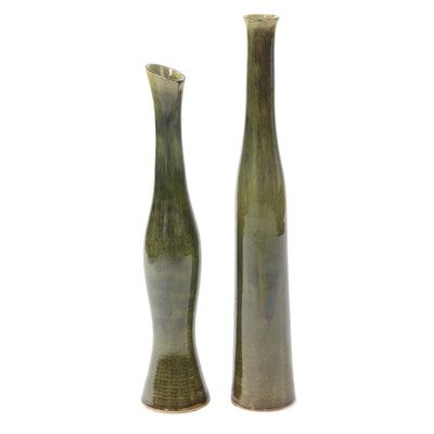 Chinese Glazed Ceramic Elongated Vases