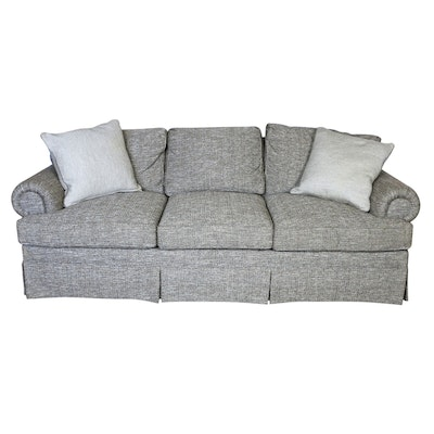 Contemporary Upholstered Rolled-Arm Sofa