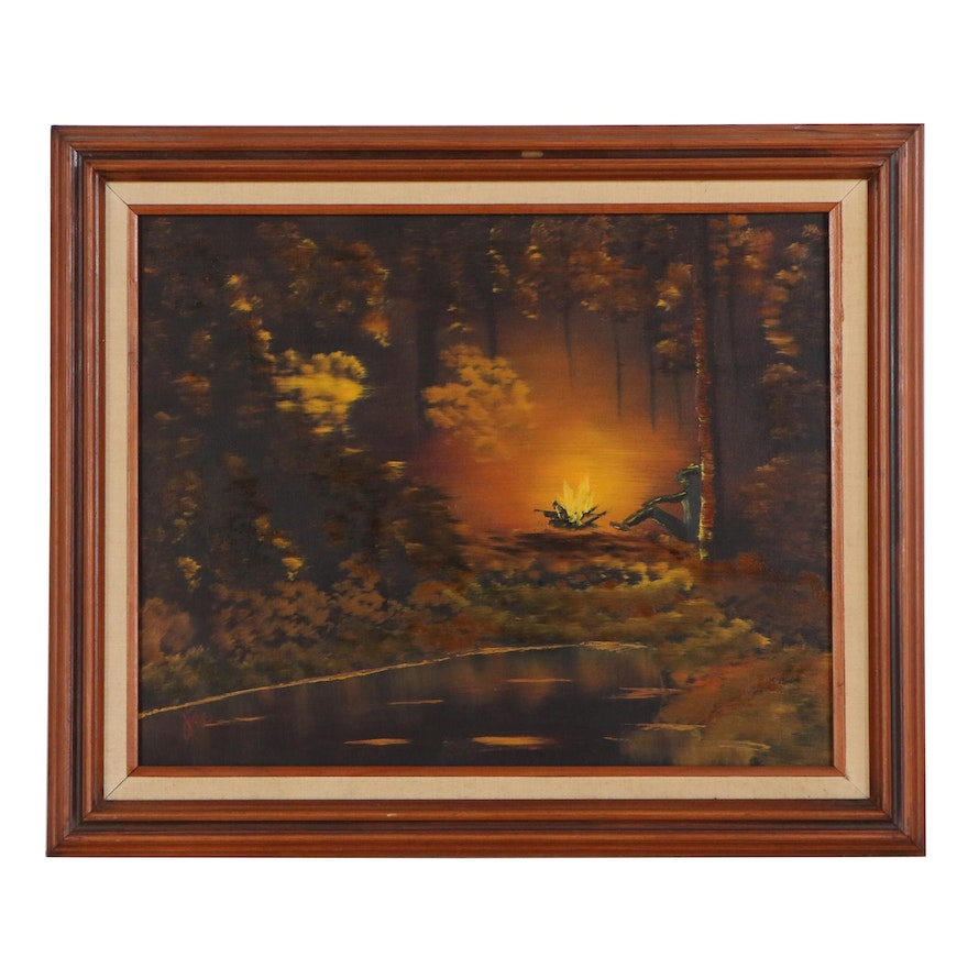 Oil Painting of Forest Scene with Figure and Camp Fire