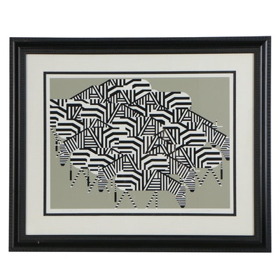 "Charley Harper Serigraph ""Serengeti Spaghetti"""