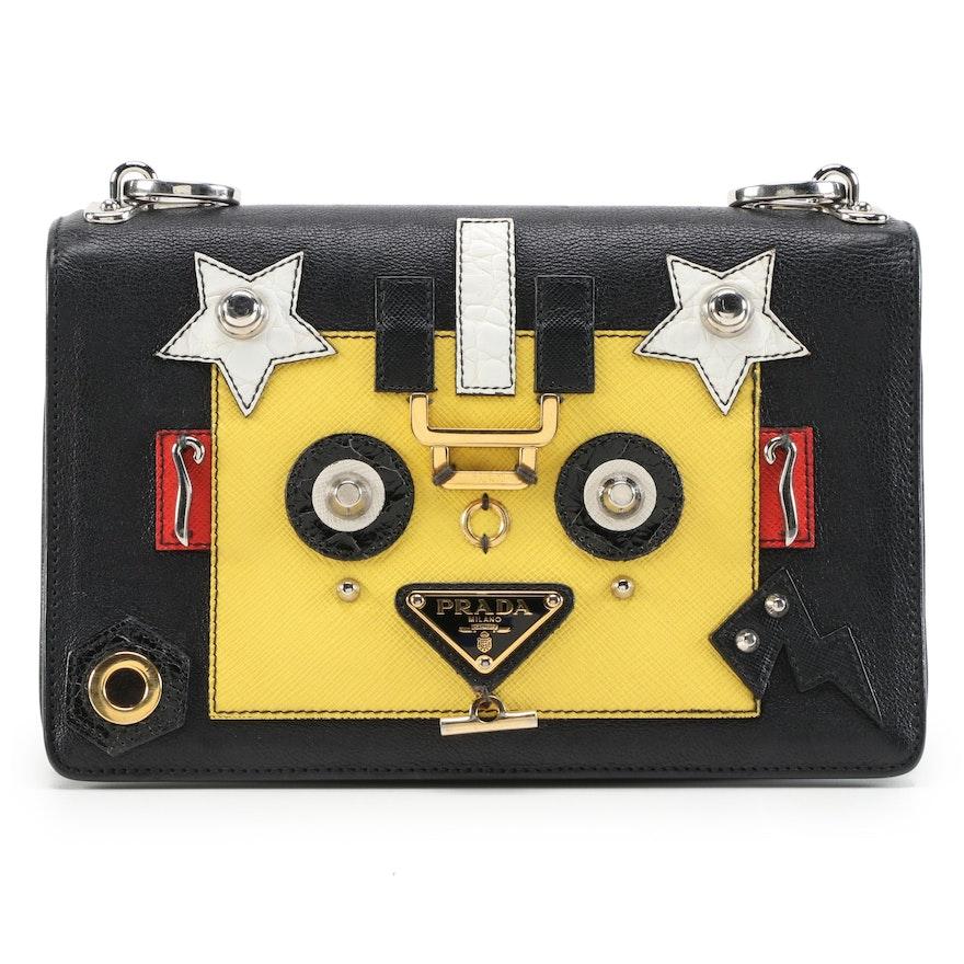 Prada Robot Flap Black Leather Shoulder Bag