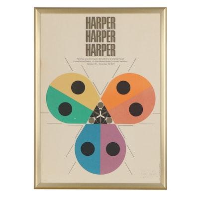 "Signed Lithograph Exhibition Poster ""Harper Harper Harper"", 1977"