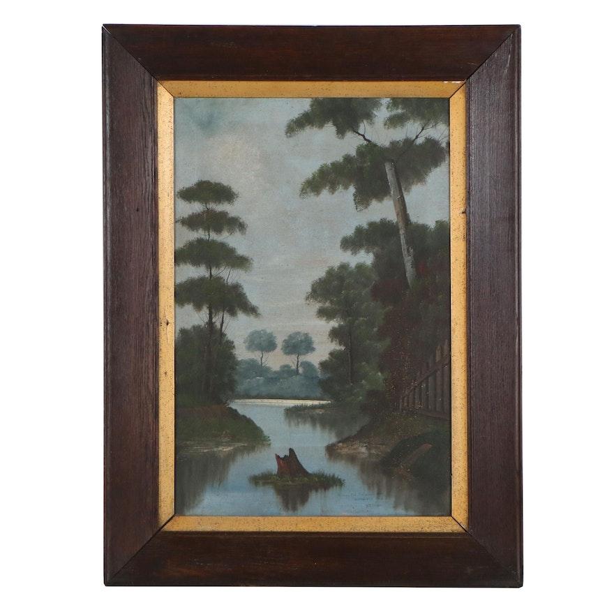 "William A. Bixler Landscape Oil Painting ""Rileys Old Swimming Hole"""