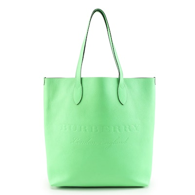 Burberry Remington Tote in Neon Green Grained Leather