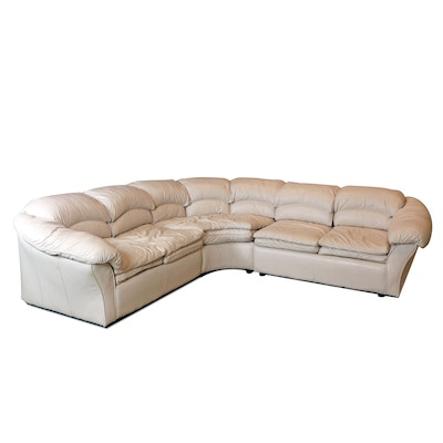Century Furniture Cream Leather Sectional Sofa