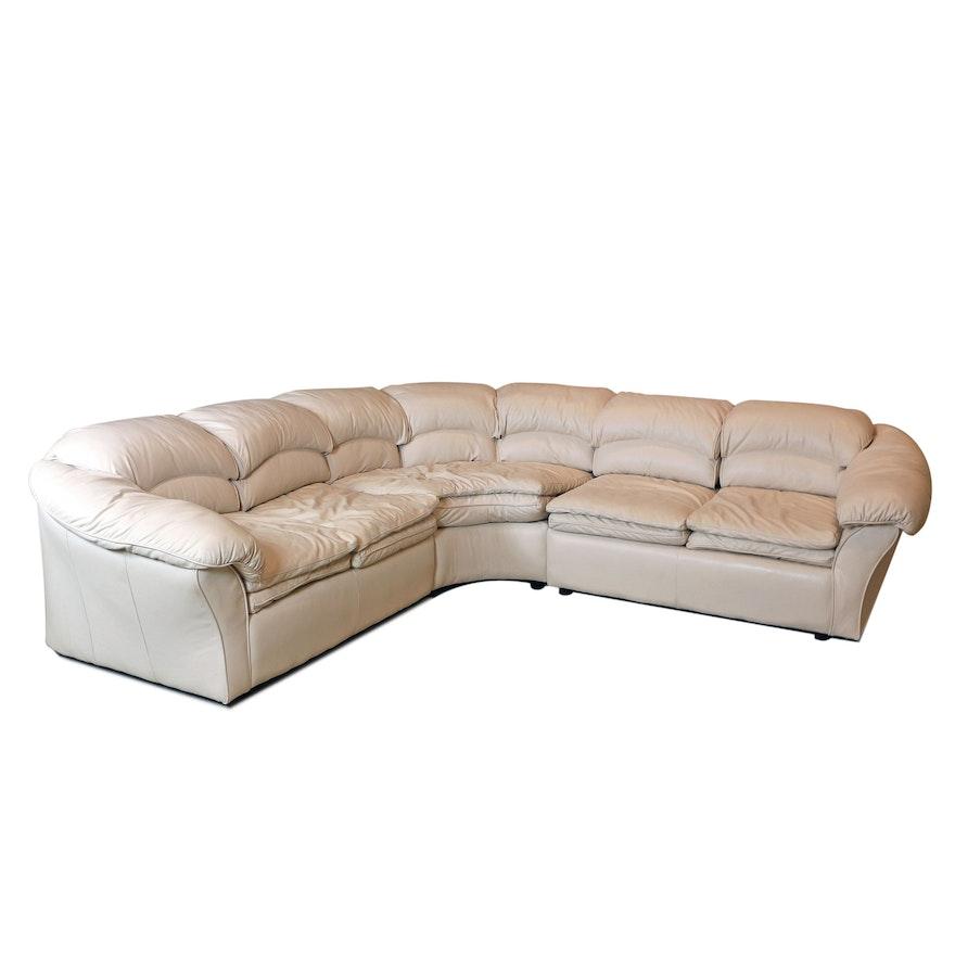 Century Furniture Cream Leather Sectional Sofa