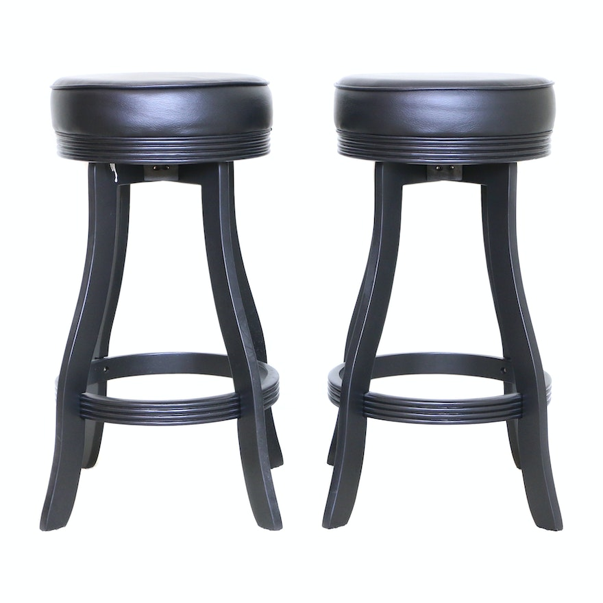 American Heritage Billiards Black Barstools, Late 20th Century