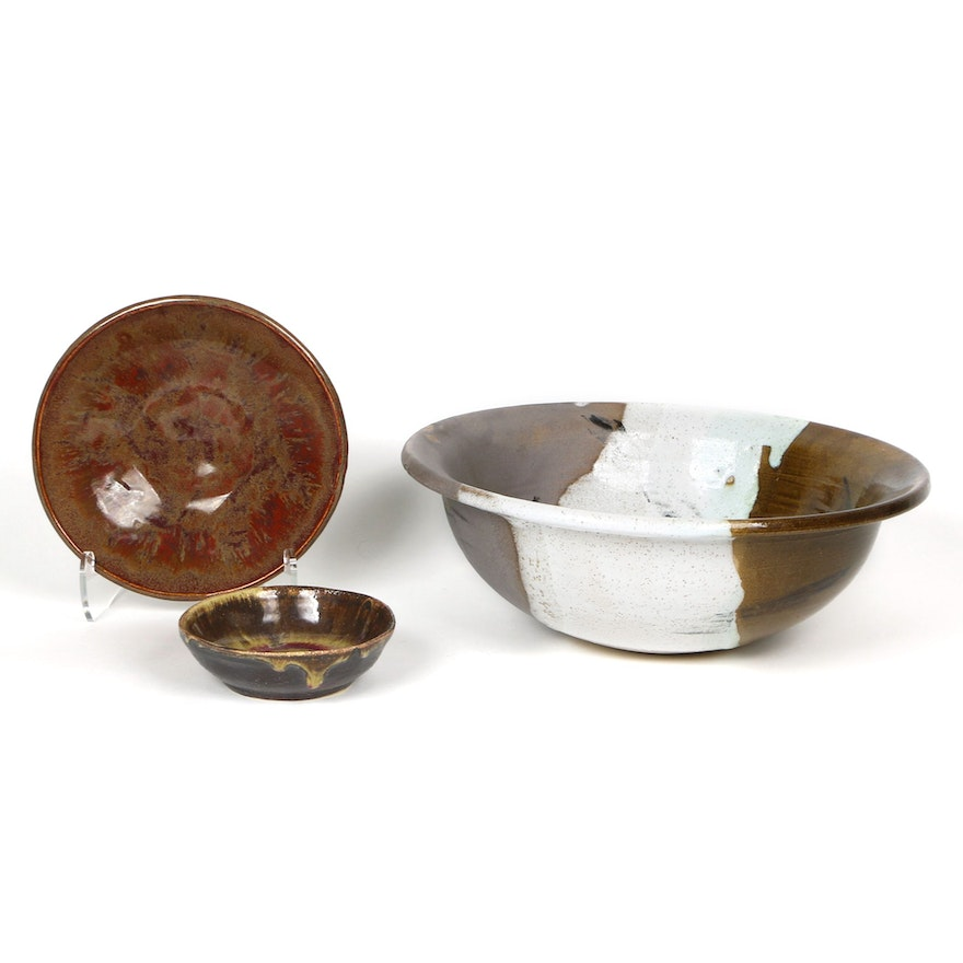 BS Pottery Hand Thrown Stoneware Bowl and Other Art Pottery Bowls