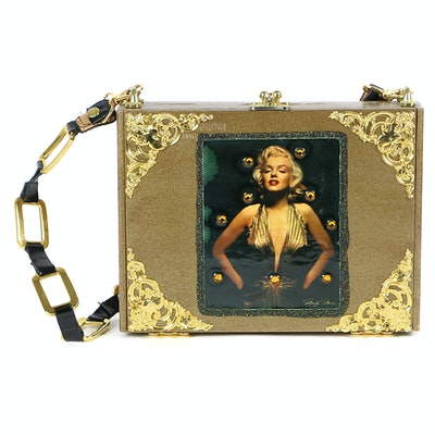 Elaine Laurent Handmade Cigar Box Handbag with Marilyn Monroe Print