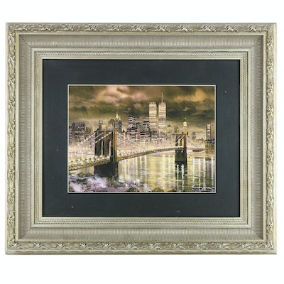 Offset Lithograph of New York City Skyline with World Trade Center