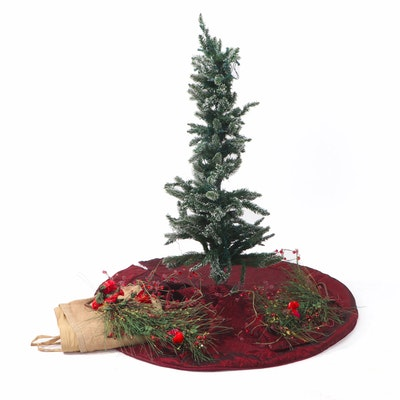 Artificial Christmas Tree, Seasonal Greenery and Tree Skirts