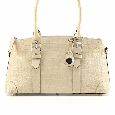 Dooney & Bourke Beige Crocodile Embossed Leather Domed Satchel