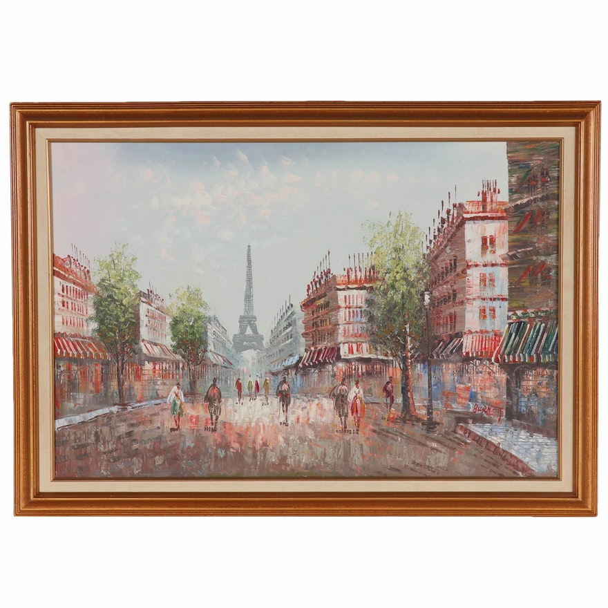 Oil Painting of Parisian Street Scene