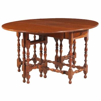 William and Mary Style Walnut Gateleg Table, 20th Century