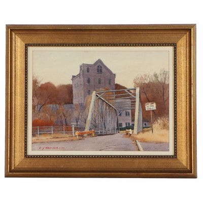 Edmond James Fitzgerald Watercolor Painting of Bridge and Building
