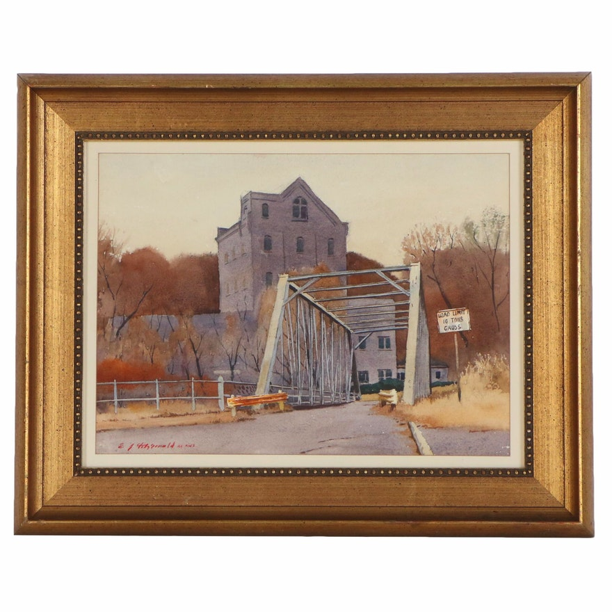 Edmond James Fitzgerald Watercolor Painting of Bridge and Building