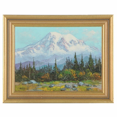 Fred Oldfield Mountain Landscape Oil Painting of Mt. Rainier