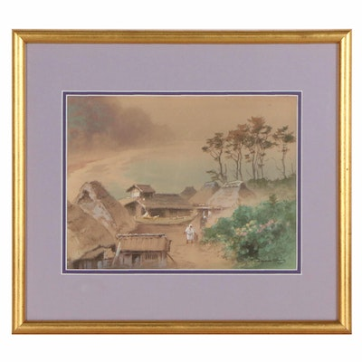 Tananchi Watercolor Painting of Village Scene