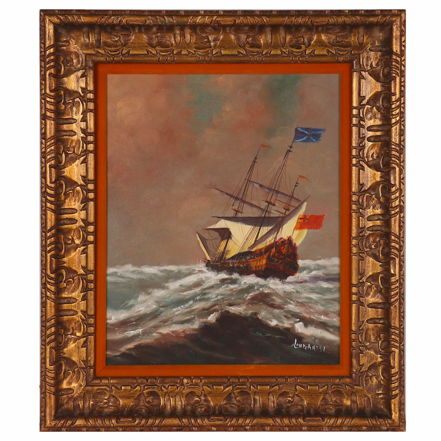 Nautical Oil Painting of Ship at Sea, Mid to Late 20th Century