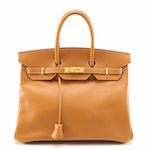 Hermès Birkin 35 Satchel in Gold Ardennes Leather with Gold Plated Hardware