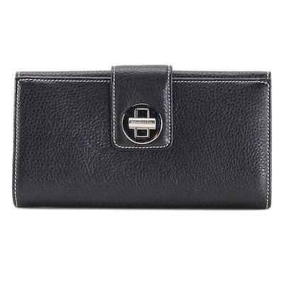 Tiffany & Co. Wallet in Black Grained Leather with Contrast Stitching