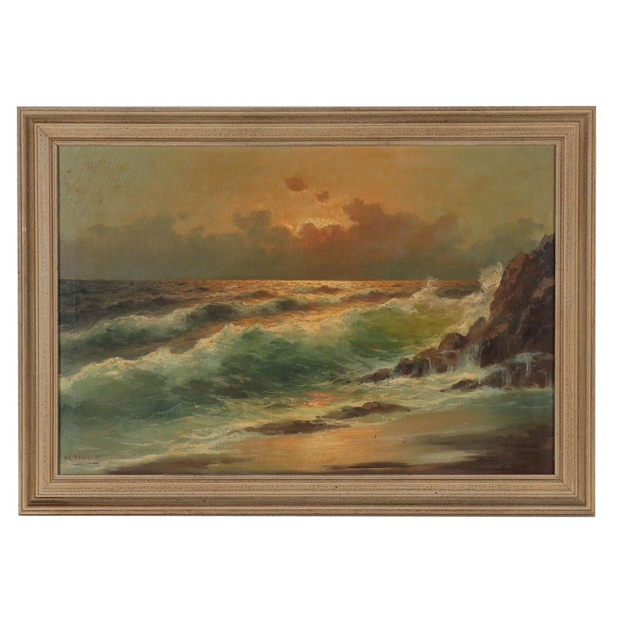 M. Rinaldi Seascape Oil Painting, 20th Century