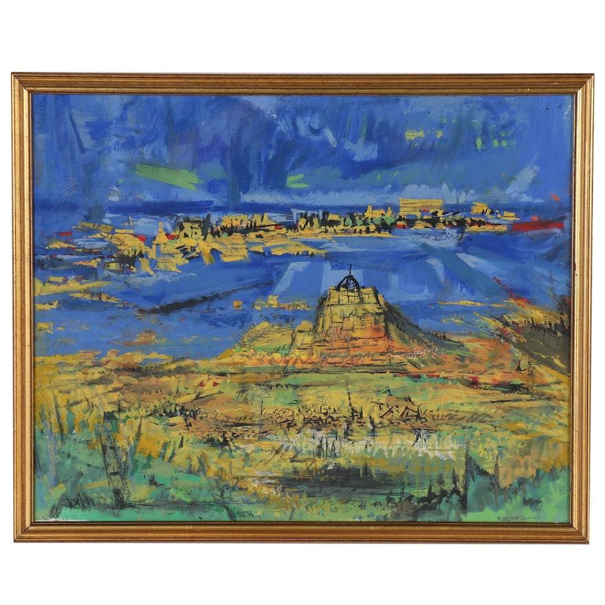 Robert Morris Gatrell Abstract Landscape Gouache Painting
