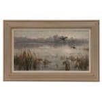 Wayne Beam Morrell Oil Painting of Lake Scene with Ducks in Flight