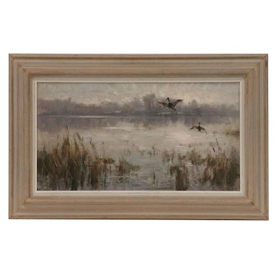 Wayne Beam Morrell Oil Painting of Lake Scene with Ducks in Flight