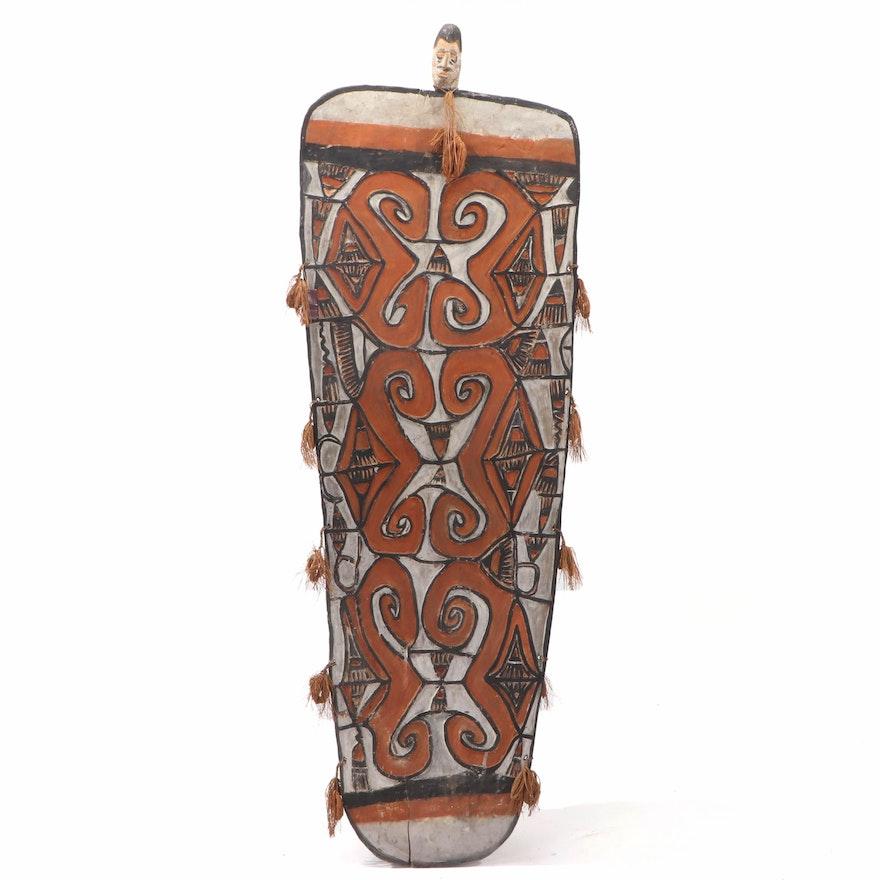 Asmat War Shield Polychrome Hand-Carved Wood, Papua New Guinea