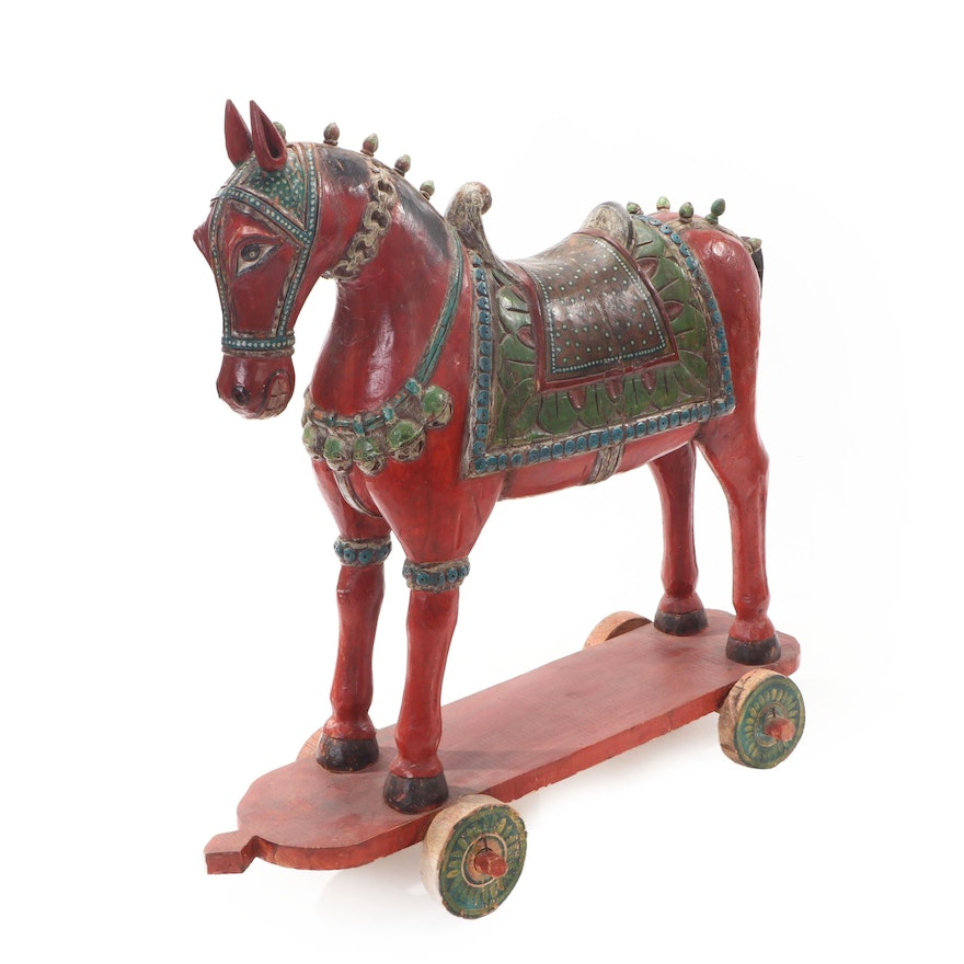 Asian Style Polychrome Wooden Horse on Wheels