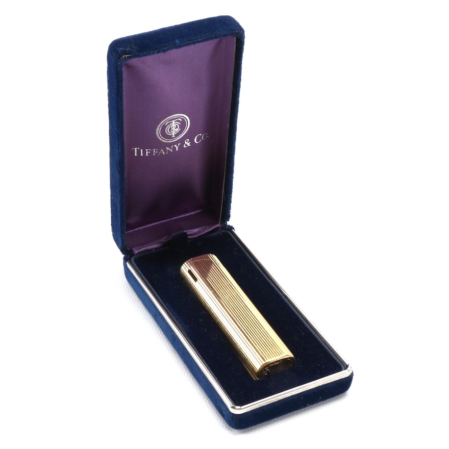 Tiffany & Co. Gold Tone Metal Lighter with Presentation Box