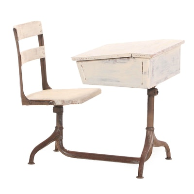 Painted Child's Lift-Lid School Desk & Swivel Chair on Steel Base, 20th Century