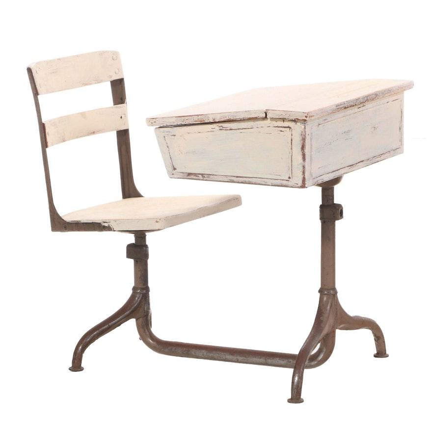 Painted Child's Lift-Lid School Desk & Swivel Chair on Steel Base, 20th Century