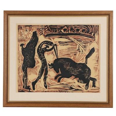 "Linoleum Cut after Pablo Picasso ""The Banderillas"""