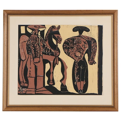 """Linoleum Cut after Pablo Picasso """"Picador and Bullfighter"""""""