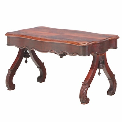 Rococo Revival Flame Mahogany Coffee Table, 3rd Quarter 19th Century and Adapted