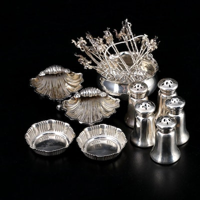 Gorham Sterling Salt and Pepper Shakers with Other Sterling Table Accessories